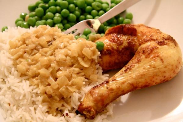 Curry Brathuhn mit Erbsen und Reis