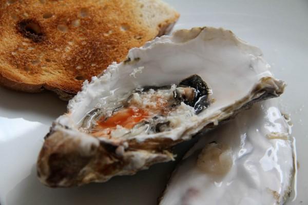 Frische Austern mit Meerrettich und Tabasco